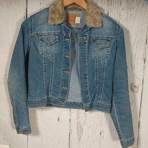 VTG Levi's Trucker Jean Jacket Faux Fur Collar